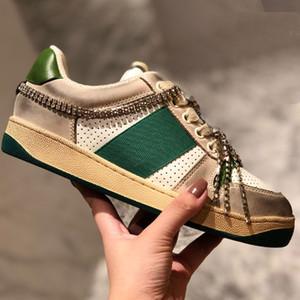 Versão suja New Season Shoe Moda Mulheres Sapatos de couro de Men Lace Up Platform Sole Sneakers Branco Preto Sapatos casuais