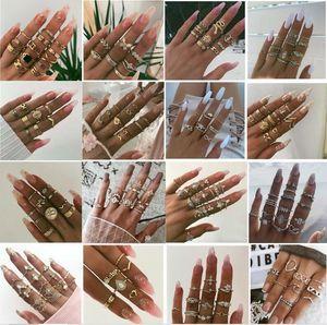 1 Set Vender moda Noite Estrelada Brilhante Vintage Knuckle Rings Mulheres flor geométrica do cristal Ring Set Bohemian Jóias 26 Set