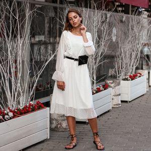 Ruffles Polka Dot Women Chiffon Dress Elastic Waist Flare Sleeve Female Long White Dress 2019