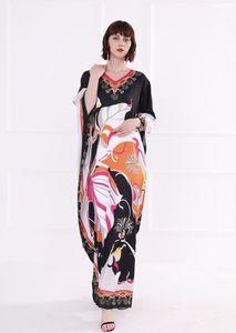 2019 Женской Подиум Платье V шеи 3/4 рукав Цветочного Printed Сыпучие Дизайн Мода Праздник Повседневные Летние платья