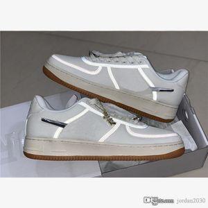 Nike Air Force 1 Low Travis Scott Sail 2020 Hot venda Casual Forças sapatos 1 Low Travis Scott Tênis de corrida AQ4211-101 Sail Gum Castanho claro Designer de sapatos Size40-45