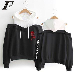 Harajuku hoodies Hot Sale Rose Hoodies Women Sexy Off-Shoulder People Are Poison Rose Print Sweatshirt Hip Hop Fans Hoodie