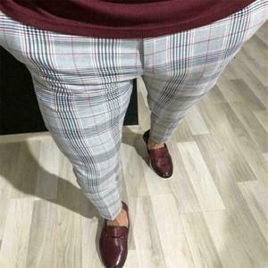 Hot Fashion Plus Size 3XL Men Casual Slim Fit Skinny Costume d'affaires formel Pantalons Robe Plaid Pantalons Pantalons New Drop shipping