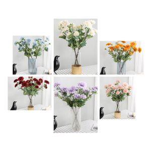 6 heads Dahlia simulation flower artificial flower for wedding decoration real touch silk fake flower Dahlia flores party home decorative