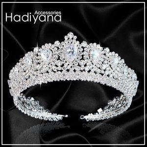 Hadiyana New Bling Wedding Crown Diadema Tiara Con Zirconia Cristallo Elegante Donna Diademi E Corone Per Pageant Party Bc3232 J190701