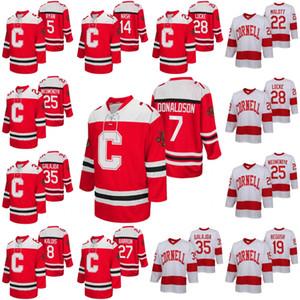 Cornell Big Red NCAA Kolej Hokeyi Jersey Cam Donaldson Matthew Galajda Brenden Locke Joe Nieuwendyk Michael Regush MacDonald Max Andreev