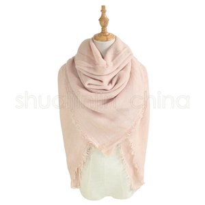 Fashion Woman Square Scarf 140*140CM Solid Color Tassel Long Scarf Oversize Winter Warm Shawl Wraps Pashmina Blanket TTA1741