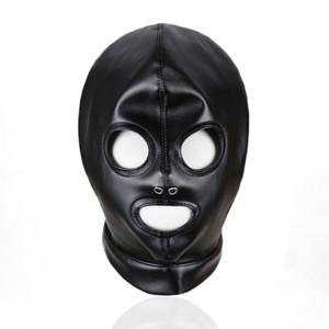 Черный латекс комбинезон Маска PU фетиш костюм аксессуары зашнуровать SM косплей глава Маска Сексуальная партия головные уборы