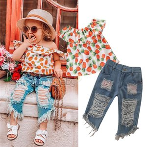 2pcs Baby Girls Toddler Pineapple Vestiti Bambini Off Scaw Top + Denim Denim Denim Abiti Set A-823