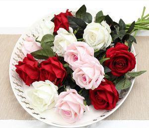 11pcs Romantic Rose Artificial Flower DIY Branco Red Silk falsificação flor para o Dia dos Namorados Decoração partido Home casamento