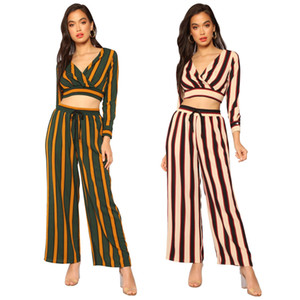 Women's Two Piece Sets European and American fashion ladies contrast color stripes V-neck exposed navel top wide-leg pants two-piece suit