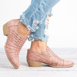 Frauen Lederschuhe plus Größe Zip Fashion Heels Loafers für Frau weiche Spitze Zehe der Frauen flache Schuhe