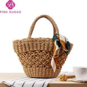 Pink sugao designer luxury handbags purses women tote bags beach bag casual holiday handbags 2019 new fashion straw tote bag clearly handbag