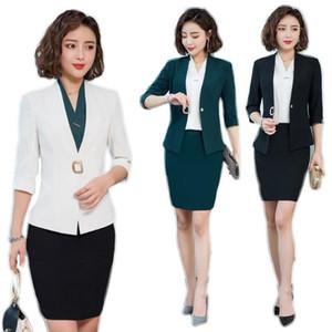 Nuevos 2020 Americana blanca para trajes de falda de las mujeres de negocios de trabajo Wear Conjunto media manga sistemas Jacket Ladies Complete Office vestimenta de las mujeres