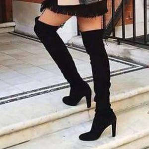 LOOZYKIT Женщины Длинные сапоги над коленом пяток ботинки кожаные ботинки женщины сексуальная партия Stretch Flock Winter High замша Botas