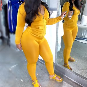 Yellow Sexy Skinny Two Piece Set Women Autumn Winter Long Sleeves Hooded Zipper Top And Full Length Pant Solid Casual Tracksuits