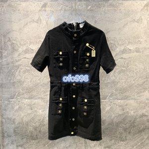 femmes haut de gamme chemise de filles monogramme lettre robe en jean à manches courtes imprimer mini une ligne serrée jupe 2020 design de mode robes de luxe