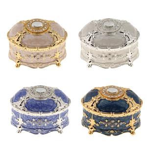 Retro Enamel European Style Oval Trinket Chest Jewelry Box Organizer Holder 18 x 12.5 x 11cm