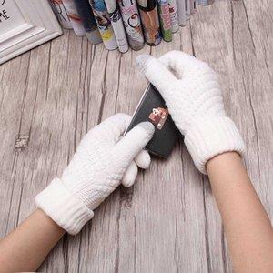 Fashion Warm Solid Knitted Women Gloves Winter Unisex Men Stretch Knit Wool Thicken Mittens Hand Wrist Screen Sense guantes