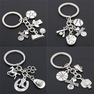 10PCS I Love Football Keyrings Basketball Key Chains Baseball With Soccer Clover Shoes Charms Keychains Silver For Car Purse Bag Cowboy Gift