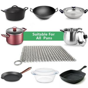 """8 """"x6"""" Cleaner Fonte en acier inoxydable 316L Scourer Chainmail Scrubber pour Cast Iron Pan"""