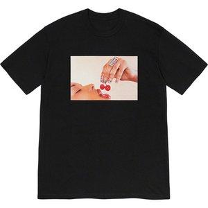Sureme 2020ss Kirazlar Tees Erkekler Kadınlar Çiftler Kiraz Baskılı Kısa Kollu Yuvarlak Yaka T Gömlek Bogo Eat% 100 Pamuklu Tişört Erkekler
