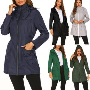 Chaqueta al aire libre de las mujeres chaqueta rompevientos de moda femenina al aire libre otoño e invierno Delgado medio largo abrigo montañismo traje chaqueta con capucha
