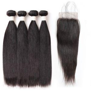 Gerade Haar 4 Bundles 8-28 zoll Remy Menschenhaar 9A Lose Welle Tiefe Lockige Körperwelle Gerade Farbe 1B Schwarzes Haar