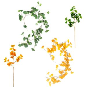 2 Pcs Plante Artificielle Faux Fake Plant Ginkgo Leaf Yellow Wedding Celebration Home Decoration Jungle Party Table Prop Decor