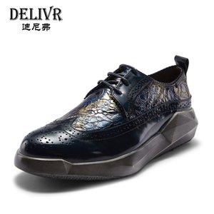 Delivr Mans zapatos de cuero de los hombres de Brogues talladas zapato formal Bullock boda de negocios hecho a mano vestido oxfords de los hombres del zapato masculino