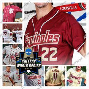 Custom Florida State Seminoles FSU 2019 CWS Baseball Any Name Number White Red Cream 22 Drew Mendoza 8 JC Flowers Men Youth Jersey