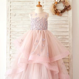 Pink Flower Girl Dresses Cute Lace Tulle Formal Long Special Occasion Exchange Dress Pageant for Wedding Gowns Girls Dress 2020