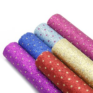 6 Pcs 20*34cm Dot Fine Glitter Synthetic Leather For DIY Handmade Earrings Handbag Phone Case,1Yc5901