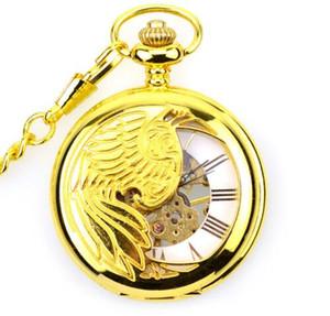 10pcs lot Vintage Gold Phoenix Mechanical Pocket Watch Retro Skeleton Men White Roman Dial Steampunk Mechanical pocket Watch