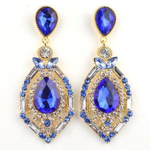 luxury elegant crystal gem rhinestone big fashion stud earrings 4 colors Hot Sell Vintage Earings Accessories ER-016054