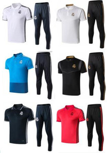 Pólo camisa 2019 Real Madrid Camisas De Futebol camisa polo calças treino 19 20 SERGIO RAMOS BENZEMA MODELO ISCO BALE futebol polo Camisas
