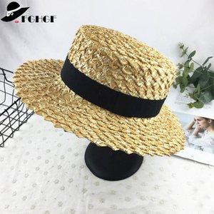 7 cm de Ancho Brim Boater Cap Ribbon Round Flat Top Trigo Sombreros de paja Sun Beach Hat Verano Mujeres Kentucky Derby Hat Sombreros Mujer Y19070503