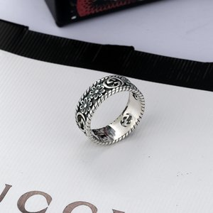 Woman Jewelry Thai Silver Ring Simple Retro Style Ring Comprehensive Small Flower Carving Trend Ring High Quality Jewelry Supply