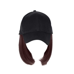 Женщины Девушки Короткие Цельный парик Бобо Head Синтетические волосы Бейсбол Hat с париками LX9E