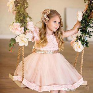 2020Cheap Short Sweety Lace Pink Kids Cute Girl's Dress for Wedding Crew Neck Pageant Dresses Flower Little Girls Dress