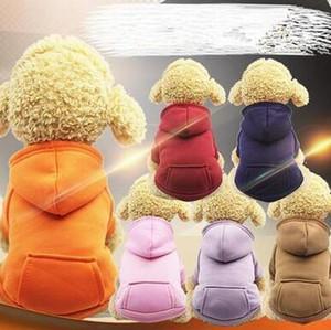 Casaco com capuz bolso camisola cães pequenos Hoodies bolso jaquetas com manga cães fora do curso inverno quente Roupa Pet Shop WY134Q