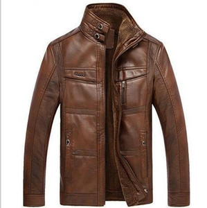 Winter PU Leather Thick Slim Fit Cool Warm Jacket Coats Men Father Jacket
