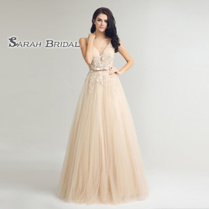 High Quality Tulle A-Line Prom Dresses Sexy V-neck With Ribbon Appliques Beads Evening Occasion Gowns LX242