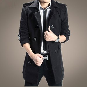 2020 Brand Autumn Winter New Men's Jackets Body Repair Woolen Overcoat for Male Double Breasted Thickened Jacket