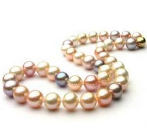 9-10mm Natural Seas South Seas Gold Pink Purple Pearl Collana 18 pollici perline Collane 14K Gold Chiusura