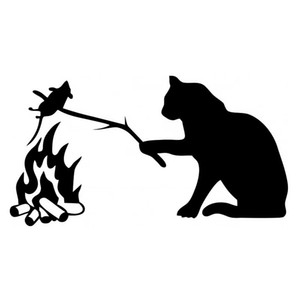 15*8.2CM Cat and Mouse and Fire Decal Vinyl Car Sticker Black Silver CA-1123