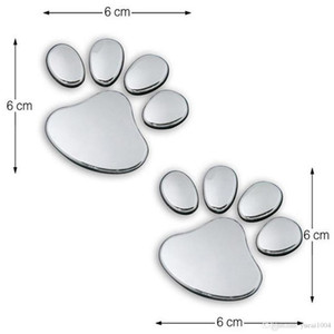Un paio Sticker Car disegno freddo Zampa 3D Animal Dog Cat Bear Foot Prints Impronta di 3M della decalcomania autoadesivi Silver Gold