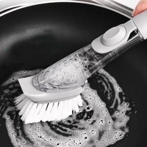 التلقائي السائل إضافة فرشاة الإسفنج طبق الأطباق غسل طويل مقبض إعادة الملء فرشاة لمكملات مطابخ المنزلية