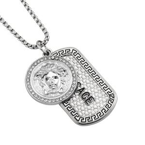 7см Silver Mens Hip Hop Подвеска Ожерелье Женщины Head Дизайнер Iced Out Lion Head Dog Tag Подвеска Мужчинам себе ожерелье ювелирных изделий