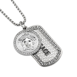 7cm Silber Mens Hip Hop-hängende Halsketten-Frauen-Chefdesigner Iced Out Lion Head Dog Tag Anhänger Männer Opulente Halskette Schmuck